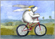 Mimi riding bicycle, giclee print