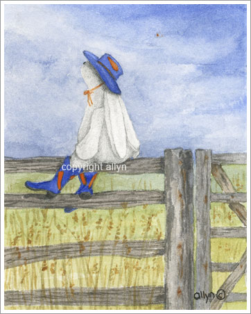 Cowboy boot Mimi on fence
