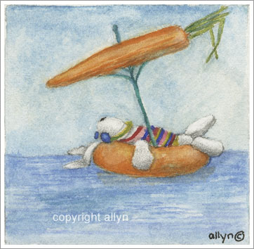 Mimi on float with carrot umbrella